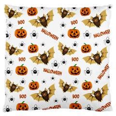 Bat, Pumpkin And Spider Pattern Large Flano Cushion Case (two Sides)