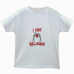I Just Love Halloween Kids White T Shirts by Valentinaart