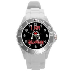 I Just Love Halloween Round Plastic Sport Watch (l) by Valentinaart
