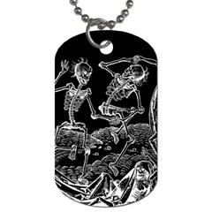 Skeletons   Halloween Dog Tag (one Side) by Valentinaart