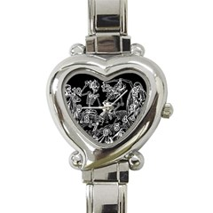 Skeletons   Halloween Heart Italian Charm Watch by Valentinaart
