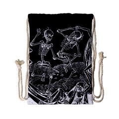 Skeletons   Halloween Drawstring Bag (small) by Valentinaart