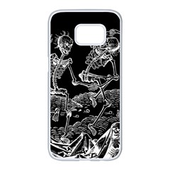Skeletons   Halloween Samsung Galaxy S7 Edge White Seamless Case by Valentinaart