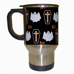 Ghost And Chest Halloween Pattern Travel Mugs (white) by Valentinaart