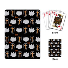Ghost And Chest Halloween Pattern Playing Card by Valentinaart