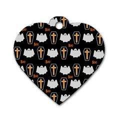 Ghost And Chest Halloween Pattern Dog Tag Heart (one Side) by Valentinaart