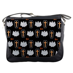 Ghost And Chest Halloween Pattern Messenger Bags by Valentinaart