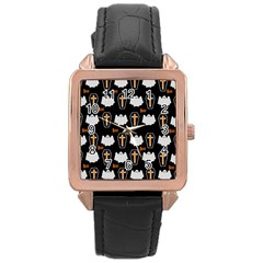 Ghost And Chest Halloween Pattern Rose Gold Leather Watch