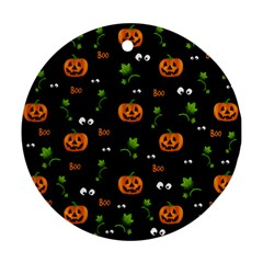 Pumpkins   Halloween Pattern Round Ornament (two Sides) by Valentinaart