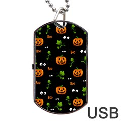Pumpkins   Halloween Pattern Dog Tag Usb Flash (one Side) by Valentinaart