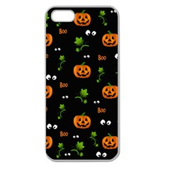 Pumpkins   Halloween Pattern Apple Seamless Iphone 5 Case (clear) by Valentinaart