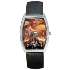 Cute Baby Elephant On A Jetty Barrel Style Metal Watch by FantasyWorld7