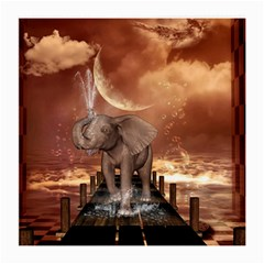 Cute Baby Elephant On A Jetty Medium Glasses Cloth (2 Side) by FantasyWorld7
