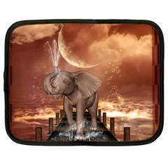 Cute Baby Elephant On A Jetty Netbook Case (xxl)  by FantasyWorld7