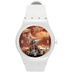 Cute Baby Elephant On A Jetty Round Plastic Sport Watch (m) by FantasyWorld7