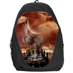 Cute Baby Elephant On A Jetty Backpack Bag by FantasyWorld7
