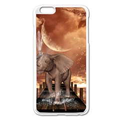 Cute Baby Elephant On A Jetty Apple Iphone 6 Plus/6s Plus Enamel White Case by FantasyWorld7