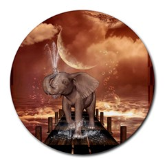 Cute Baby Elephant On A Jetty Round Mousepads