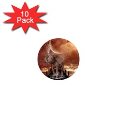 Cute Baby Elephant On A Jetty 1  Mini Magnet (10 Pack)  by FantasyWorld7