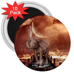 Cute Baby Elephant On A Jetty 3  Magnets (10 Pack)  by FantasyWorld7