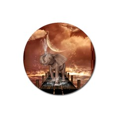 Cute Baby Elephant On A Jetty Magnet 3  (round) by FantasyWorld7