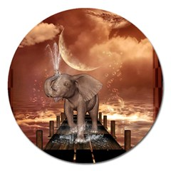 Cute Baby Elephant On A Jetty Magnet 5  (round) by FantasyWorld7