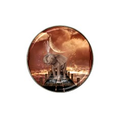 Cute Baby Elephant On A Jetty Hat Clip Ball Marker by FantasyWorld7