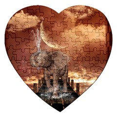 Cute Baby Elephant On A Jetty Jigsaw Puzzle (heart) by FantasyWorld7
