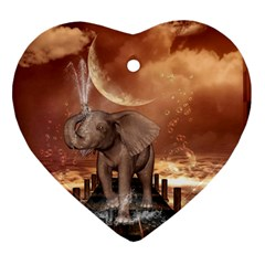 Cute Baby Elephant On A Jetty Heart Ornament (two Sides) by FantasyWorld7