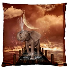 Cute Baby Elephant On A Jetty Large Flano Cushion Case (two Sides) by FantasyWorld7