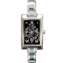 Abstract Spiral Christmas Tree Rectangle Italian Charm Watch by Mariart