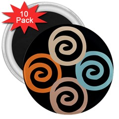 Abroad Spines Circle 3  Magnets (10 Pack)  by Mariart