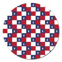 American Flag Star White Red Blue Magnet 5  (round) by Mariart