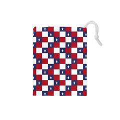American Flag Star White Red Blue Drawstring Pouches (small)