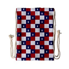 American Flag Star White Red Blue Drawstring Bag (small) by Mariart
