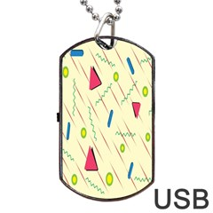 Background  With Lines Triangles Dog Tag Usb Flash (two Sides) by Mariart