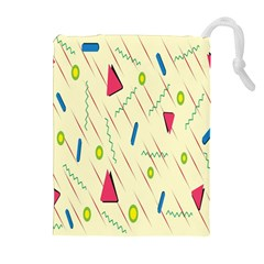 Background  With Lines Triangles Drawstring Pouches (extra Large) by Mariart