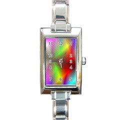 Abstract Rainbow Pattern Colorful Stars Space Rectangle Italian Charm Watch