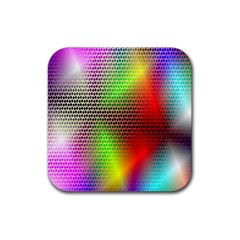 Abstract Rainbow Pattern Colorful Stars Space Rubber Square Coaster (4 Pack)  by Mariart