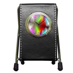 Abstract Rainbow Pattern Colorful Stars Space Pen Holder Desk Clocks by Mariart