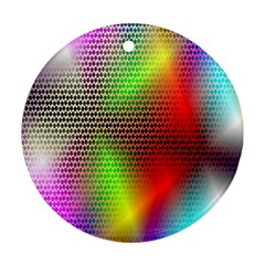 Abstract Rainbow Pattern Colorful Stars Space Round Ornament (two Sides)