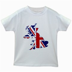 Britain Flag England Nations Kids White T Shirts by Mariart