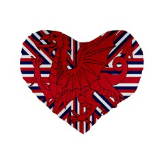 Alternatively Mega British America Red Dragon Standard 16  Premium Flano Heart Shape Cushions by Mariart