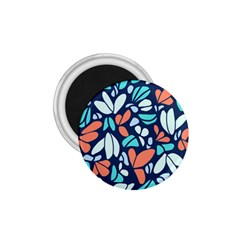 Blue Tossed Flower Floral 1 75  Magnets by Mariart