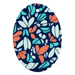 Blue Tossed Flower Floral Ornament (oval) by Mariart