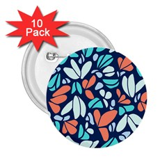 Blue Tossed Flower Floral 2 25  Buttons (10 Pack)