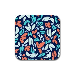 Blue Tossed Flower Floral Rubber Square Coaster (4 Pack)  by Mariart
