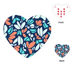 Blue Tossed Flower Floral Playing Cards (heart)  by Mariart