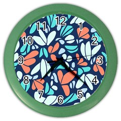 Blue Tossed Flower Floral Color Wall Clocks