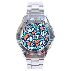 Blue Tossed Flower Floral Stainless Steel Analogue Watch by Mariart